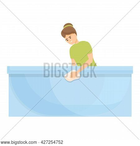 Bathtub Cleaning Icon Cartoon Vector. Housewife Busy. Woman Housework