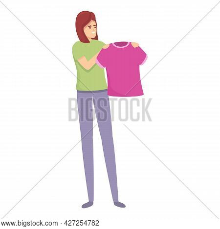 Kid Clothes Wash Icon Cartoon Vector. Mom Housewife. Woman Housework