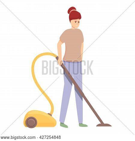 Vacuum Cleaner Work Icon Cartoon Vector. Mom Housewife. Home Vacuum Cleaner
