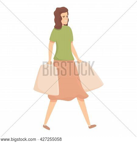 Weekend Shopping Icon Cartoon Vector. Housewife Mom. Busy People