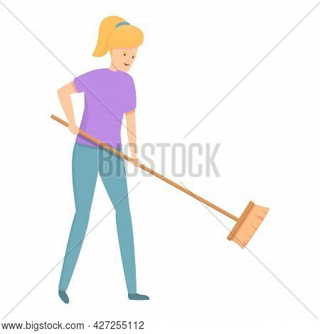 Cleaning Brush Icon Cartoon Vector. Housewife Mom. Woman Housework