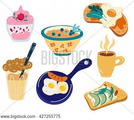 Healthy Breakfast Meals Set. Scrambled Eggs, Porridge With Berries, Avocado Toast, Tea, Coffee, Egg