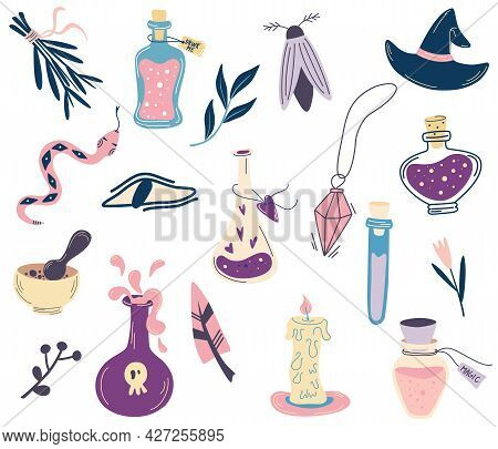 Witchcraft Set. Bottles With Potion, Evil Eye, Crystal, Snake, Candle, Moth. Big Hand Draw Magic Eso
