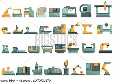 Cnc Machine Icons Set Cartoon Vector. Mill Controller. Industrial Tool