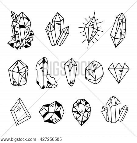 Crystals Or Gemstones Cliparts Bundle, Doodle Gem Collection, Jewelry Stone Or Diamond Set, Black An