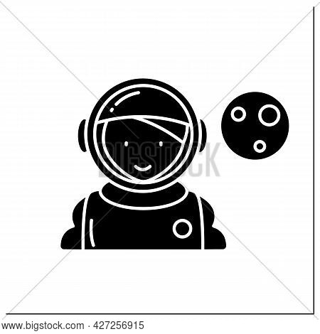 Astronaut Glyph Icon. Space Sailor. Woman Is Ready To Go Into Space. Looking Into Planets And Stars.