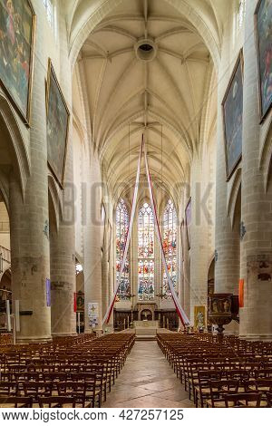 Dole, France - June 21,2021 - View At The Interior Of Church Of Notre Dame In Dole Town. Dole Is Loc