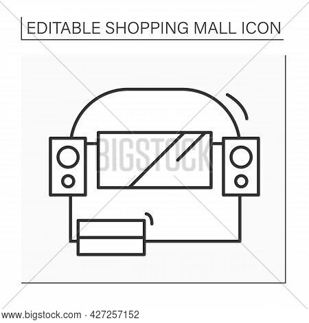 Entertainment Center Line Icon. Entertainment Space For Children And Adults. Cinema Inside Mall. Sho