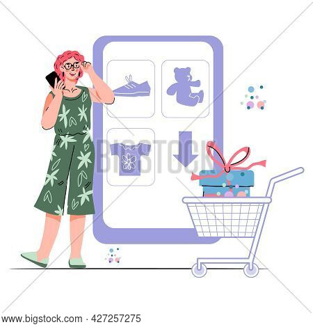 Online Shopping And E-commerce Concept With Woman Nearby Huge Phone And Shopping Cart, Cartoon Vecto