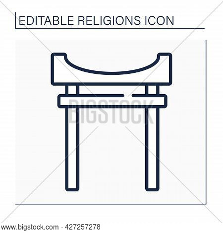 Shinto Line Icon. Polytheistic Pagan Religion Of East Asian. Animistic, Fetishistic, Totemic Beliefs