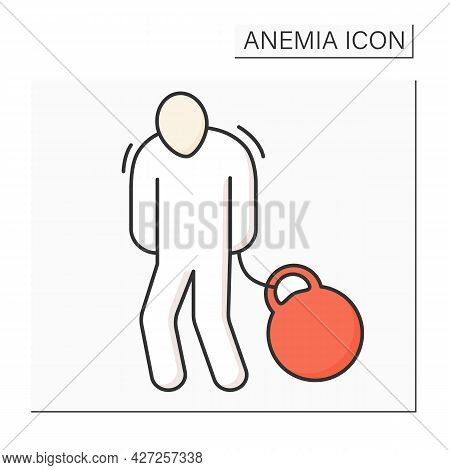 Body Heaviness Color Icon. Disease Symptoms. Weakness. Health Protection. Anemia Disease Concept. Is