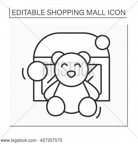 Toy Store Line Icon. Shop With Different Toys For Children And Adults. Teddy Bear And Other Playthin