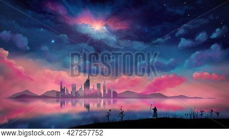 Magician, Wizard Standing In Landscape. City And Hill Reflection On Water With Overcast Night Sky. D