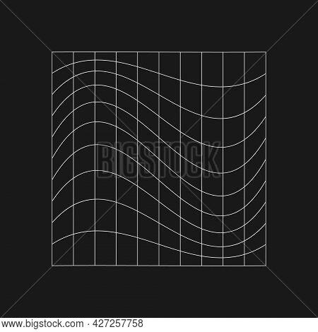 Retrofuturistic Cyberpunk Distorted Grid. Cyber Design Element. Distorted Grid In 80s Style. Cyber G