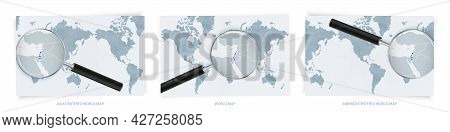 Blue Abstract World Maps With Magnifying Glass On Map Of Israel With The National Flag Of Israel. Th