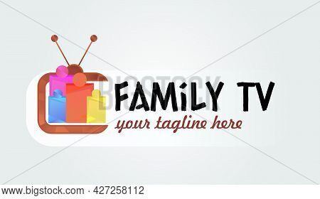 Cute Family Media Channel Logo Template. Digital Tv Logotype Template. Media Company Logo Or Film Pr
