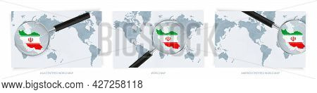 Blue Abstract World Maps With Magnifying Glass On Map Of Iran With The National Flag Of Iran. Three
