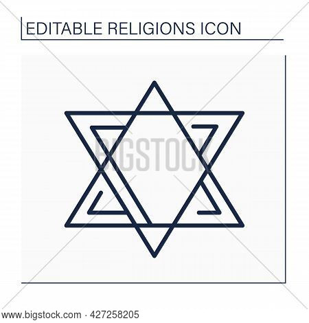 Judaism Line Icon.abrahamic, Ethnic Religion.religious, Cultural, And Legal Tradition Of Jewish Peop