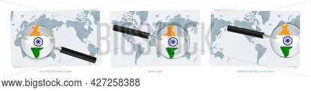 Blue Abstract World Maps With Magnifying Glass On Map Of India With The National Flag Of India. Thre