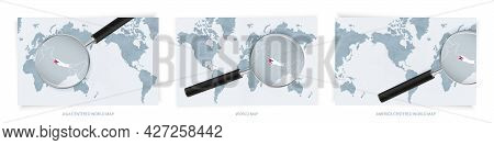 Blue Abstract World Maps With Magnifying Glass On Map Of Nepal With The National Flag Of Nepal. Thre