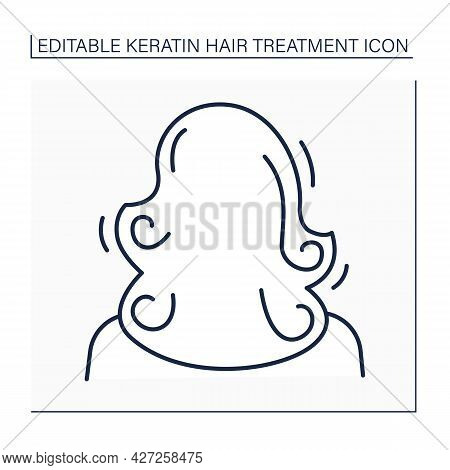 Volume Line Icon. Healthy, Curly And Well-groomed Hair. Naturalle Volume. Keratin Treatment. Beauty