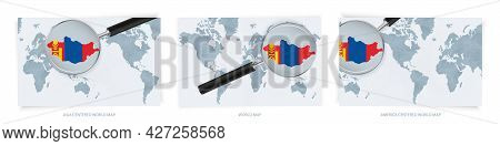 Blue Abstract World Maps With Magnifying Glass On Map Of Mongolia With The National Flag Of Mongolia