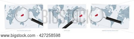 Blue Abstract World Maps With Magnifying Glass On Map Of Japan With The National Flag Of Japan. Thre