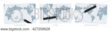 Blue Abstract World Maps With Magnifying Glass On Map Of Brunei With The National Flag Of Brunei. Th