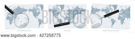 Blue Abstract World Maps With Magnifying Glass On Map Of East Timor With The National Flag Of East T