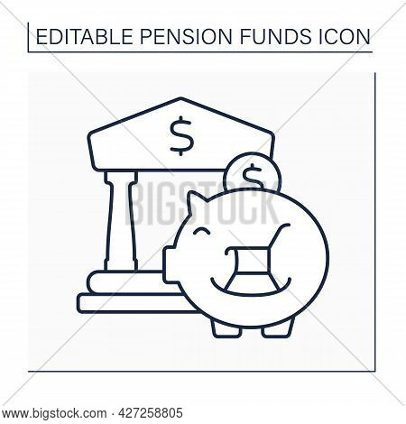 Pension Funds Investment Line Icon. Investing Money For Better Retirement. Accumulate Earnings In Ba