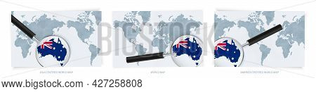 Blue Abstract World Maps With Magnifying Glass On Map Of Australia With The National Flag Of Austral