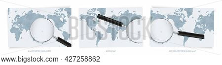 Blue Abstract World Maps With Magnifying Glass On Map Of Marshall Islands With The National Flag Of