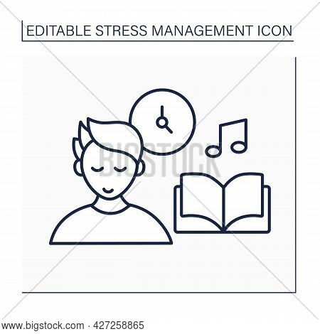 Rest Line Icon. Time For Fun And Relaxation. Free Time. Calm. Leisure Time. Stress Management Concep