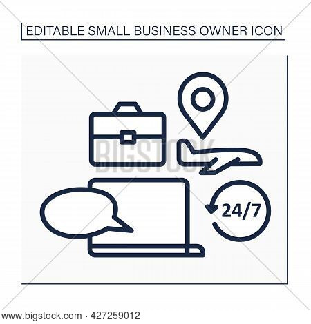 Laptop Line Icon. Travel Consultation. Day-and-night Client Support. Advice About Business Trip, Tim