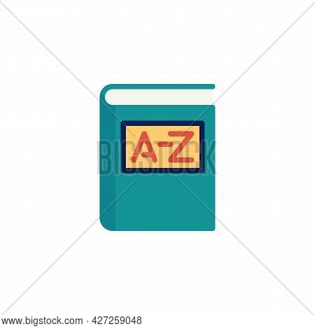 Vocabulary Book Flat Icon, A-z Book Vector Sign, Colorful Pictogram Isolated On White. Education Sym