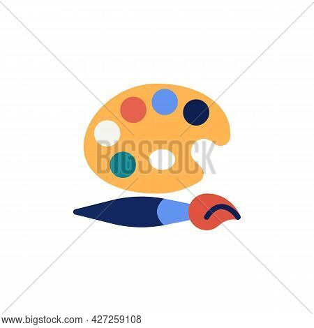 Palette Paint Brush Flat Icon, Vector Sign, Artist Paintbrush And Palette Colorful Pictogram Isolate