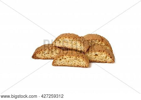 Traditional Italian Cantuccini Cookie. Isolated On White Background. Close Up