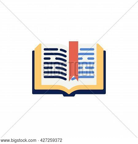 Open Book Pages With Bookmark Flat Icon, Vector Sign, Colorful Pictogram Isolated On White. Educatio