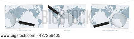 Blue Abstract World Maps With Magnifying Glass On Map Of Sao Tome And Principe With The National Fla