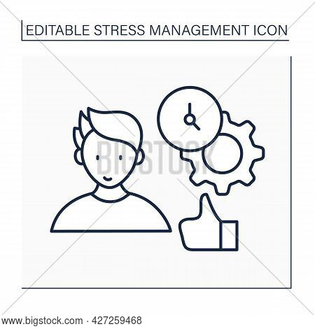 Time Management Line Icon. Daily Routine Schedule. Rational Time Manage.to Do List. Stress Managemen