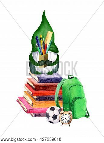 School Gnome With Pen And Pen In Hands On Pile Of Books. Funny Watercolor Education Illustration For