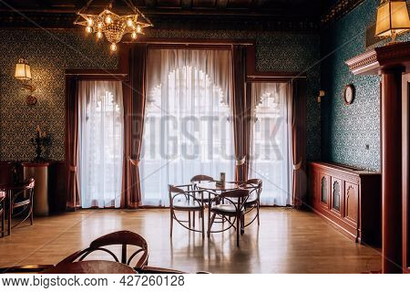 Budapest, Hungary - August 25, 2019: Interior of Bar Urania in Urania National Film Theatre built in 1890 in Budapest.