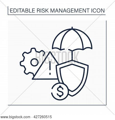 Risks Insurance Line Icon. Threat Or Peril That Insurance Company Has Agreed To Insure Against In Po