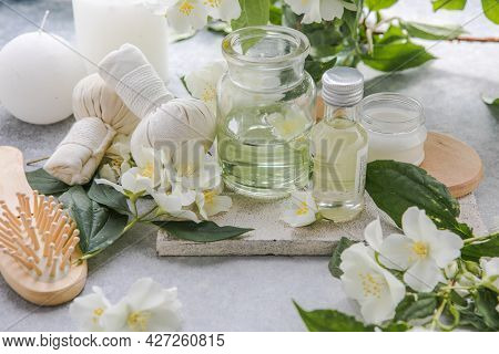 Wellness Decoration, Spa Massage Setting, Oil. Spa, Zen And Relax Concept. Composition Of Spa Treatm