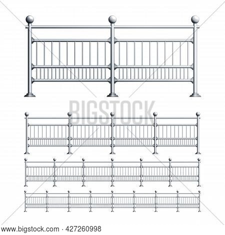 Steel Railings Exterior Construction Set Vector. Collection Of Elegance Stainless Railings, Balcony