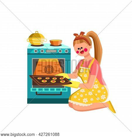 Woman Baker Baking Cookies In Kitchen Oven Vector. Young Girl Baking Cookies Food, Housewife Holding