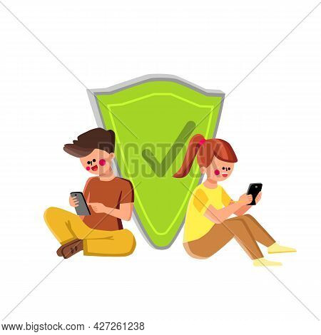Kids Cyber Safety Connection Technology Vector. Boy And Girl Children Sitting Near Shield And Using