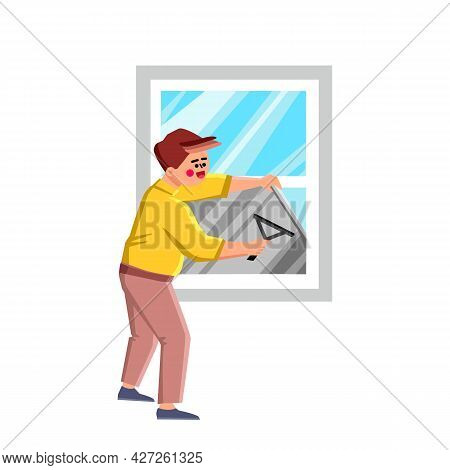 Window Foil Tinting Professional Worker Vector. Tinted Glass In House Making Man With Window Foil. C