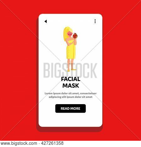 Beauty Facial Mask Applying Young Woman Vector. Beautiful Girl Holding Pomegranate Fruit And Apply O