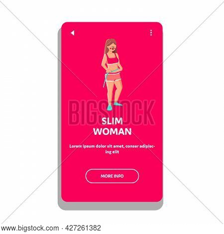 Slim Girl Checking Waistline After Diet Vector. Young Beautiful Slim Girl Body With Centimeter After